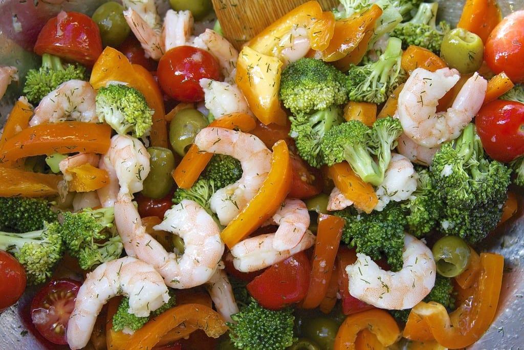 Colorful Veggies for Lemon Dill Shrimp Salad