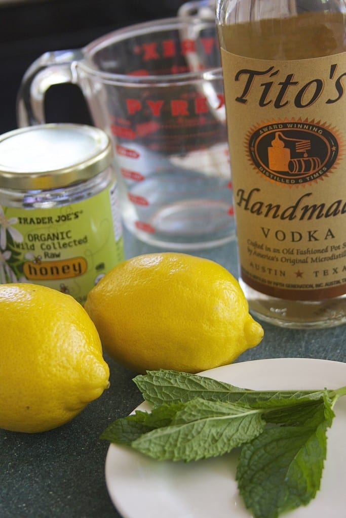 Ingredients for Vodka Honey Lemonade