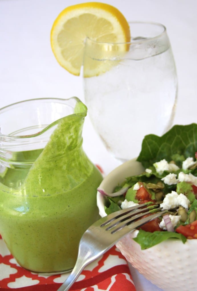 Cilantro Lime Salad Dressing recipe- flavors of cilantro and lime. This tastes so good drizzled on salads and sprinkled with peppitas. Little ones will gobble up their veggies when dipped into this dressing.