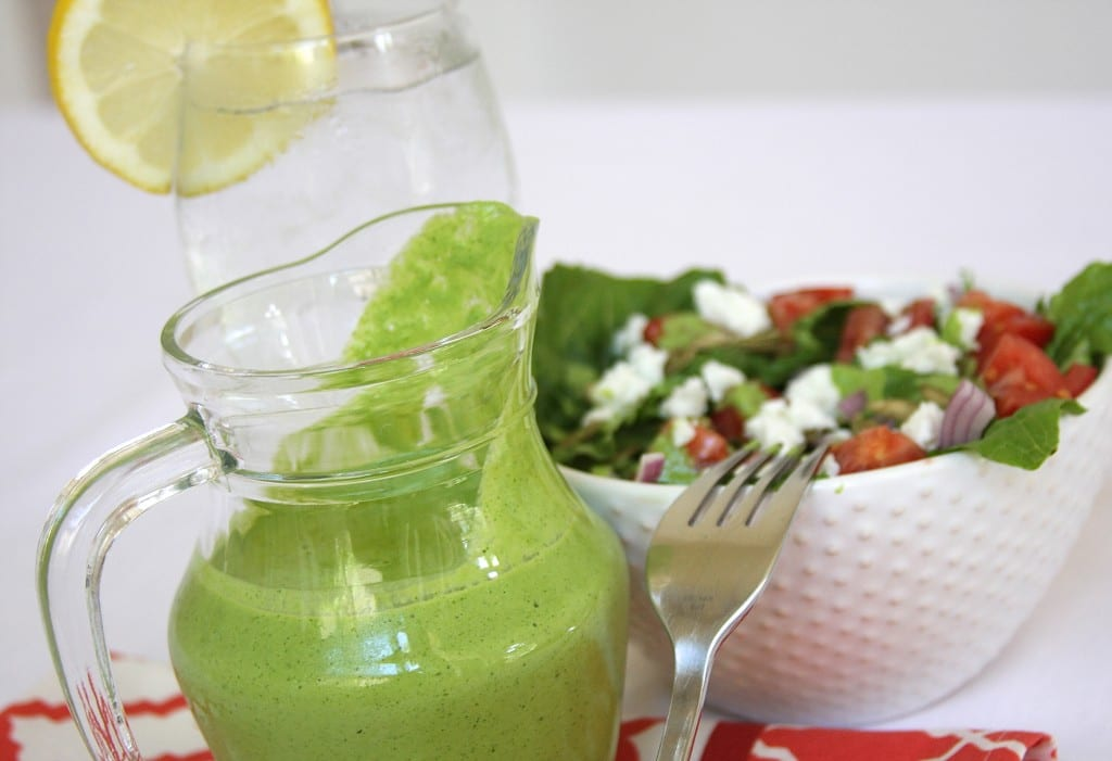 Cilantro Lime Salad Dressing recipe exposed with flavors of cilantro and lime. This tastes so good drizzled on salads and sprinkled with peppitas.