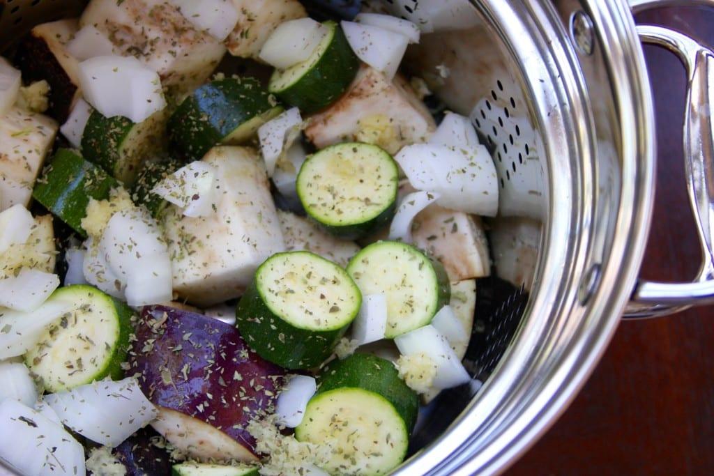 Pre-steamed veggies for Light & Easy Ratatouille
