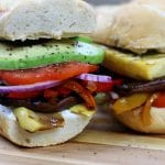 Grilled Veggie Sandwich is a guilt free, vegetarian way to enjoy the traditional sub. Grilling makes for deliciously smoky vegetables layered with zesty hummus and creamy goat cheese. A sandwich both vegetarians and non-vegetarians love.