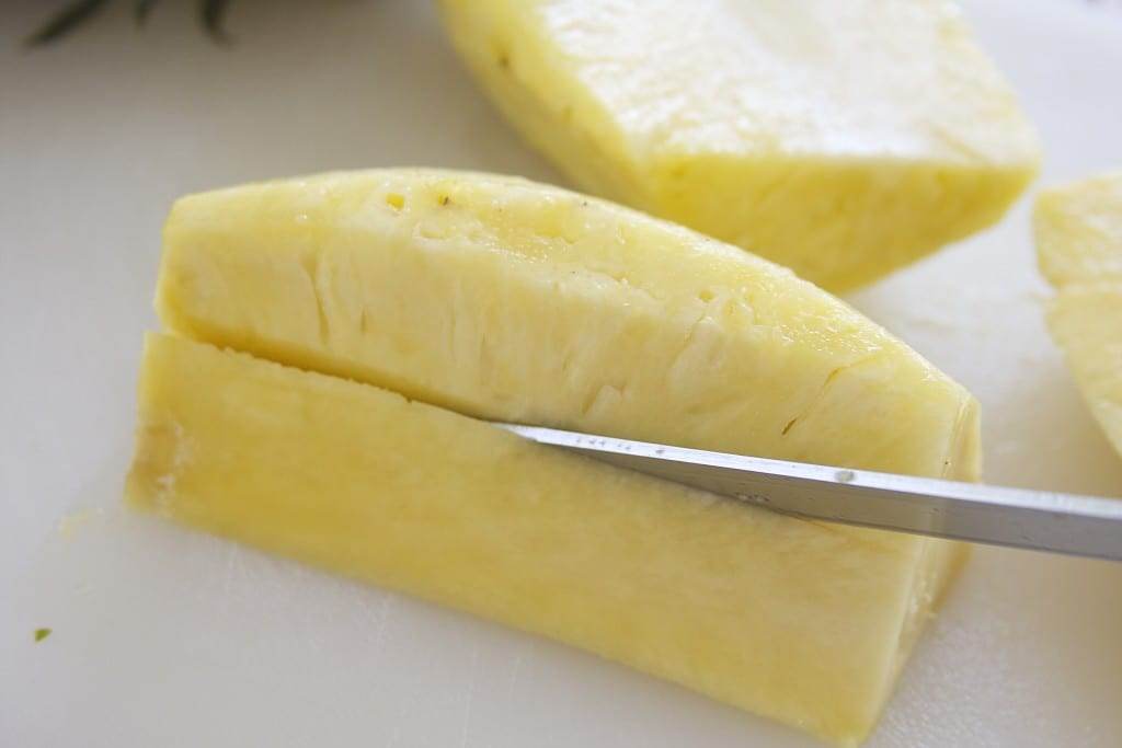 Cutting pineapple for Fresh Mango Pineapple Salsa 5
