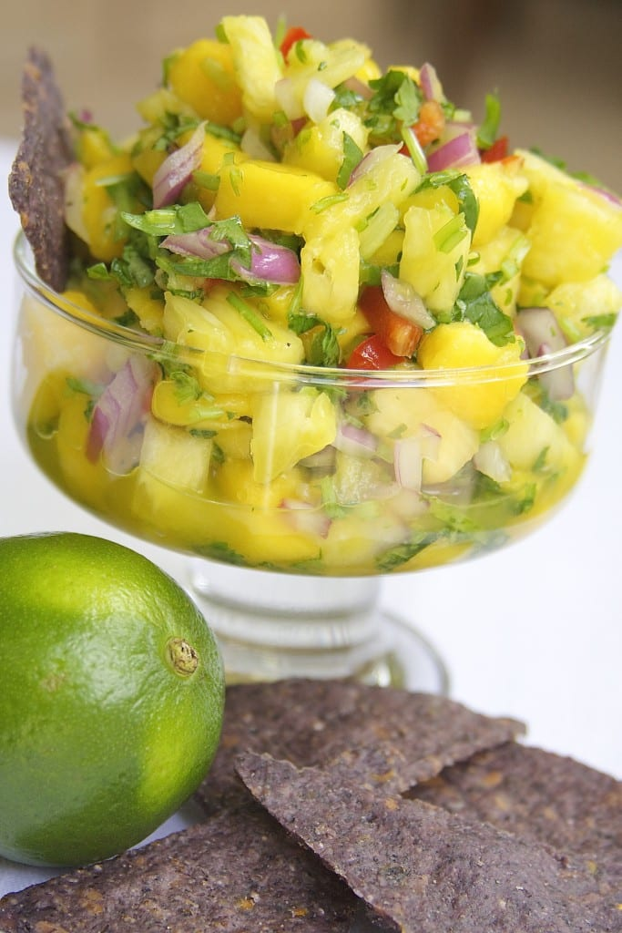 Fresh Mango Pineapple Salsa recipe has perfect balance of sweet to spice. Tutorials on cutting mango and pineapple.