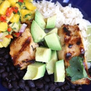 Cuban Marinated Chicken Bowl with Fresh Mango Pineapple Salsa