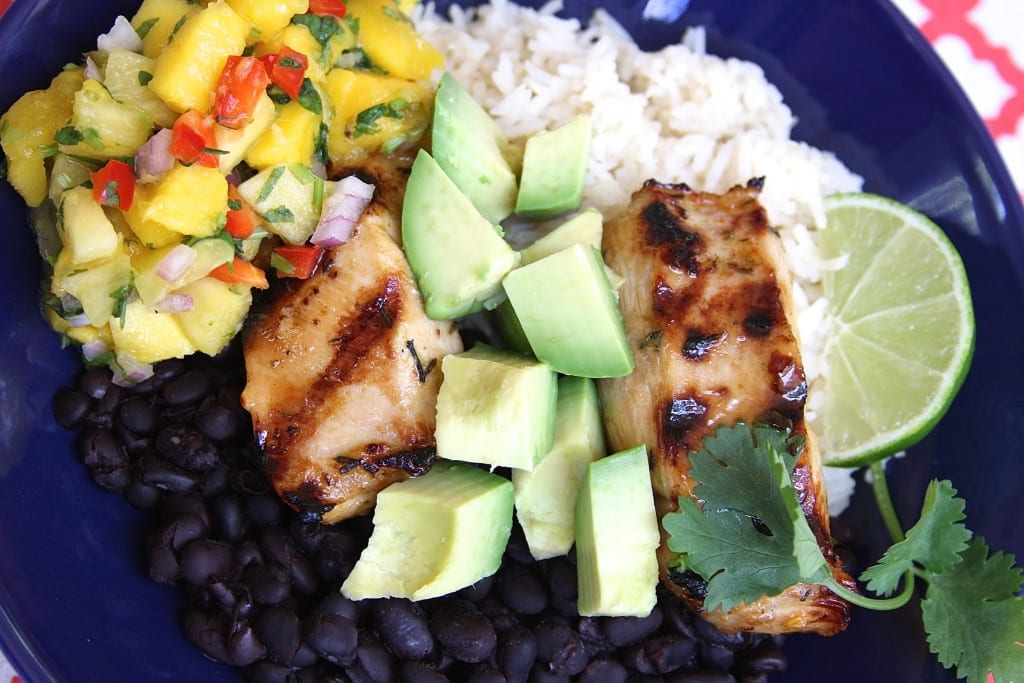 Cuban Marinated Chicken Bowl recipe has melt in your mouth , Latin rice, black beans and sweet & spicy Mango Pineapple Salsa