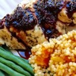 Blackberry Balsamic Chicken with Apricot Jeweled Couscous is a sweet and savory meal perfect for the special celebration to the weeknight meal. Blackberry lovers adore this recipe.