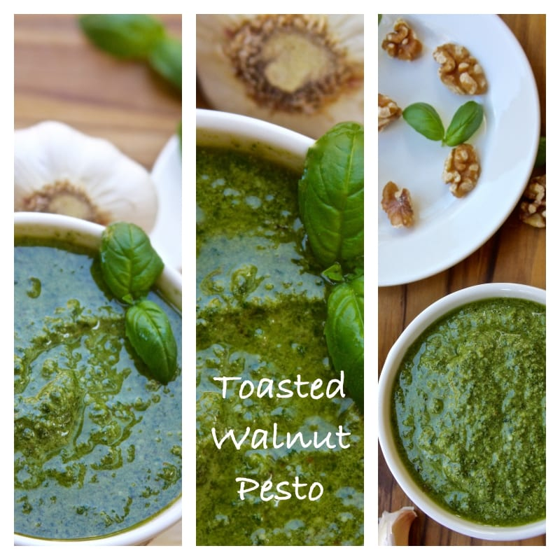 Toasted Walnut Pesto recipe is a classic sauce with a toasted nutty twist. Makes the best pastas, sandwiches and is an all around great boost to all kinds of summer meals. An absolute family favorite!
