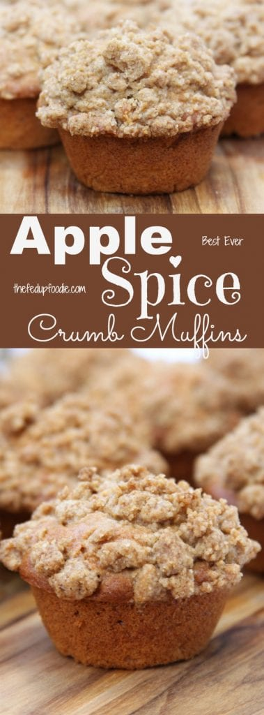 Apple Spice Crumb Muffins recipe is baking heaven and one of the best ways to celebrate the fall. Favorite ingredients of cinnamon, apple, cloves and nutmeg are covered with a buttery crumb topping. https://www.thefedupfoodie.com