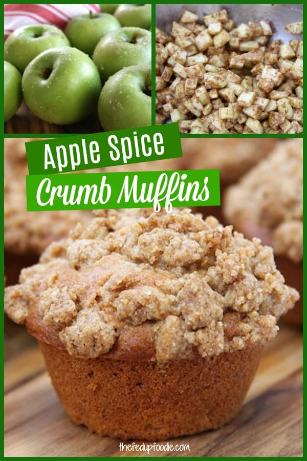 Apple Spice Muffins with crumb topping is one of the best treats on a Fall morning. These muffins are made with cinnamon, cloves, nutmeg and fresh apples. #AppleSpice #AppleMuffins #AppleMuffinsWithCrumbTopping #FreshAppleMuffins https://www.thefedupfoodie.com