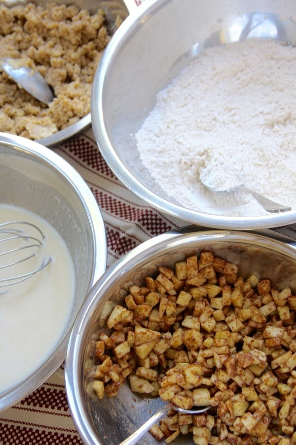 Dry & Wet Ingredients for Apple Spice Crumb Muffins