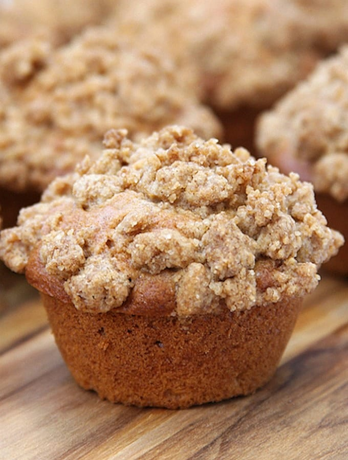 Apple Spice Crumb Muffins- bakery style using real ingredients