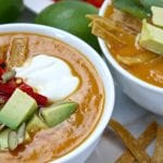 Fall Fiesta Sweet Potato Soup- chorizo & chipotle adds a flavor punch