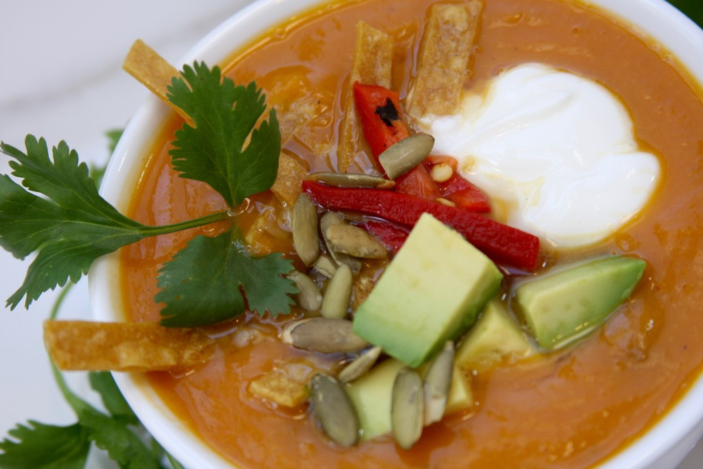 Fall Fiesta Sweet Potato Soup 1- chorizo & chipotle adds a flavor punch