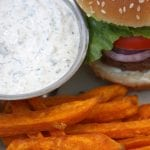 Garlic Sweet Potato Fries with Herbed Ranch Dip recipe- organic mayo, greek yogurt, chives and dill. So easy and so soul satisfying.