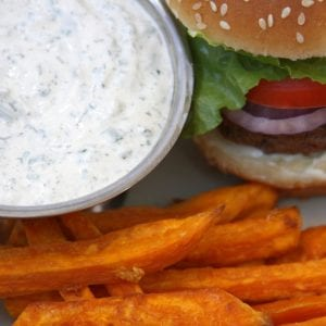 Garlic Sweet Potato Fries with Herbed Ranch Dip