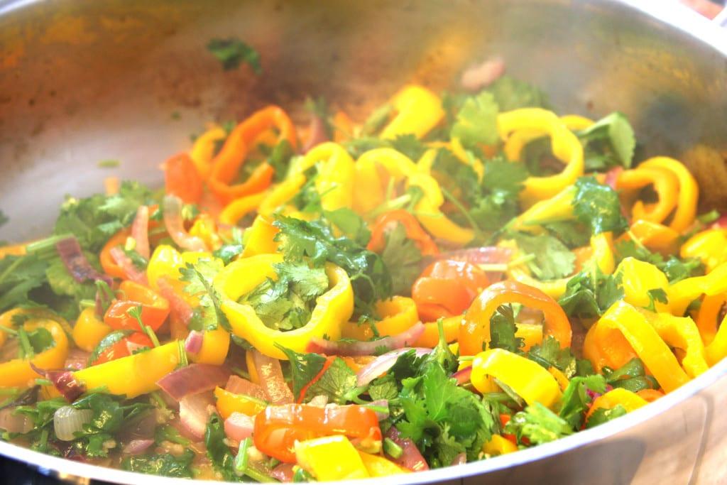 Sautéed onions, peppers & cilantro for Coconut Lime Tequila Shrimp