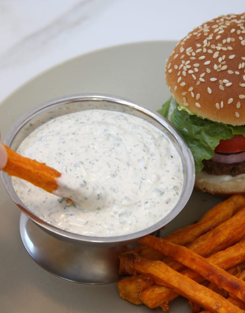Garlic Sweet Potato Fries with Herbed Ranch Dip - The Fed ...