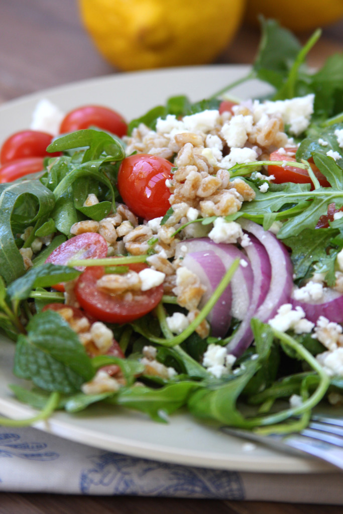 Rocket Your Mind Salad recipe. Has the nuttiness of farro, the snappiness of arugula, the freshness of cilantro and the coolness of mint all with a tangy lemon vinaigrette. This taste combination will blow your mind.