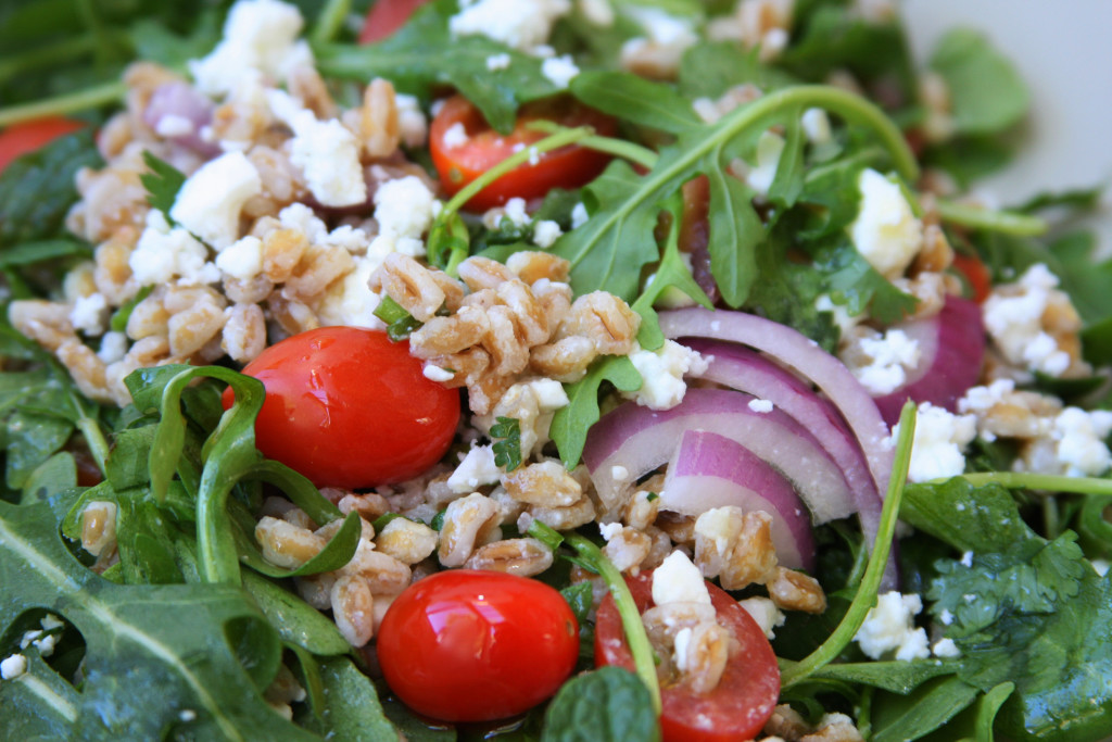Rocket Your Mind Salad 1 recipe. Has the nuttiness of farro, the snappiness of arugula, the freshness of cilantro and the coolness of mint all with a tangy lemon vinaigrette. This taste combination will blow your mind.