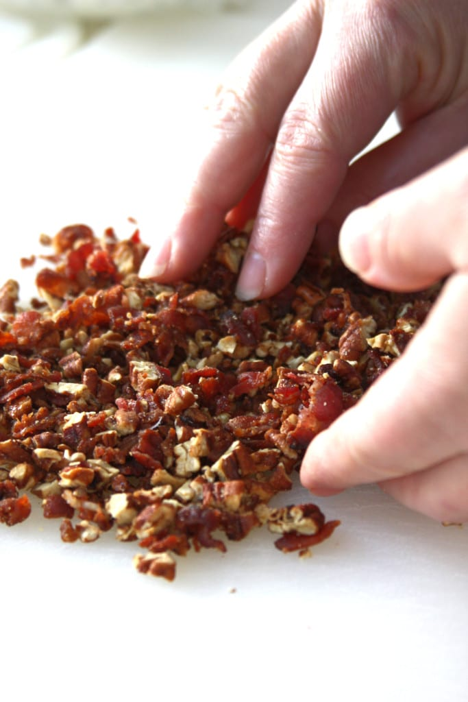 Mixing of pecans and bacon for Festive Cheese Ball