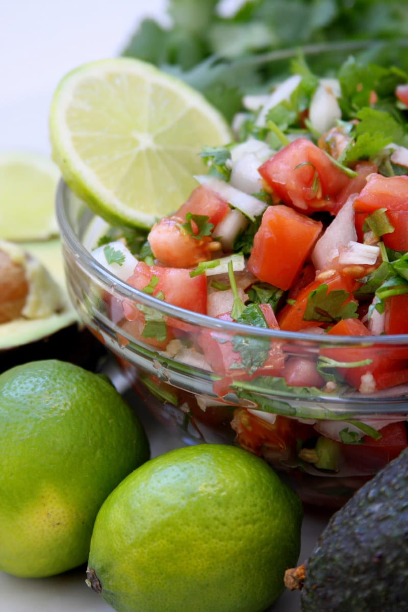 Pico De Gallo recipe1 is fresh, chunky and flavorful. Perfect with chips, tacos, omelettes , etc.