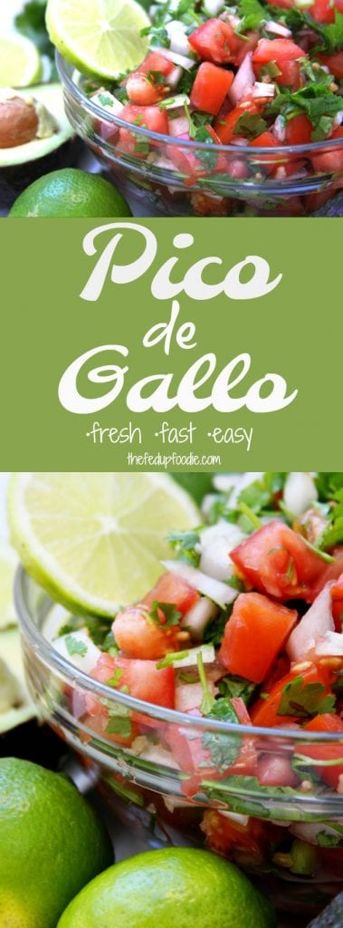 Pico de Gallo recipe is a fresh and flavorful appetizer. The best topping for eggs, tacos, salads, burritos, etc. Comes together in 10 minutes with just a few ingredients to mix together. This salsa is my husband's favorite! https://www.thefedupfoodie.com/