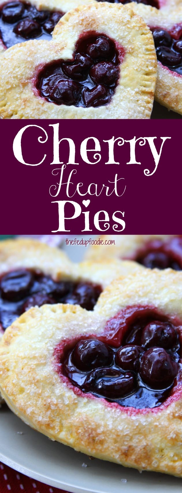 Homemade individual Cherry Heart Pies, with flakey buttery crust and sweet bold cherries make the perfect treat for Valentines Day. The best part is no artificial ingredients so you know your sweetheart's treat is only the best. #thefedupfoodie #cherrypie #cherrypiefillingrecipe #healthycherrypie #handpies #homemadecherrypie https://www.thefedupfoodie.com