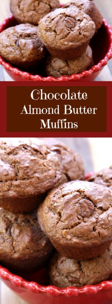 Chocolate Almond Butter Muffins recipe creates muffins that are fluffy and chocolatey with hints of almond butter and creamy chocolate chips. Extra nutrition is packed in with oatmeal, flaxseed and wheat germ. A favorite family baked treat and one of the best healthy breakfast on the go! https://www.thefedupfoodie.com