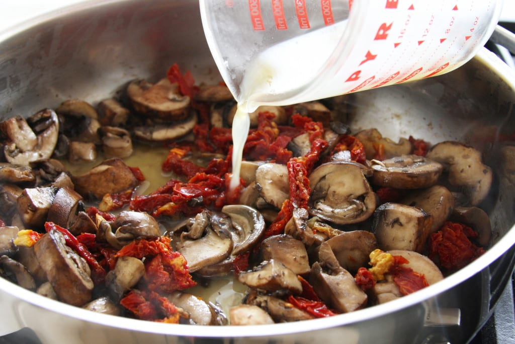 Mushrooms and sun dried tomatoes for Creamy Gnocchi Mushroom Soup