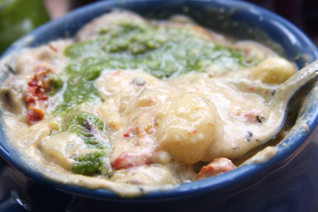 Toasted Walnet Pesto on top of Creamy Gnocchi Mushroom Soup