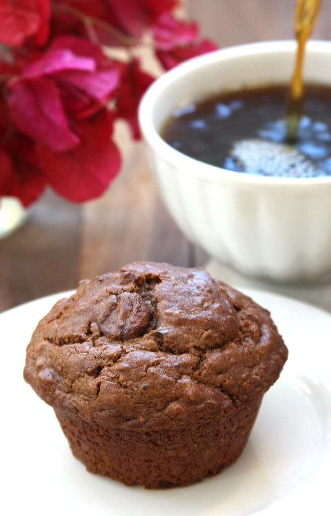 Chocolate Almond Butter Muffins are perfect with morning coffee or dessert. Fluffy and packed with nutrition.