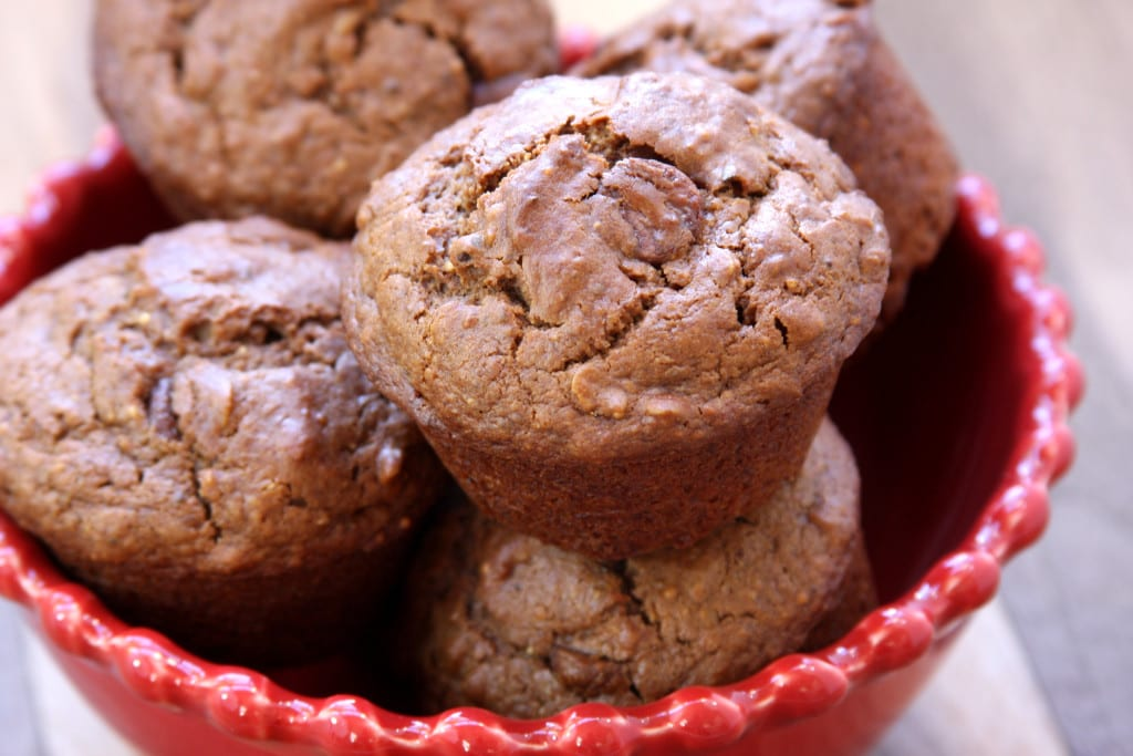 Chocolate Almond Butter Muffins recipe - fluffy chocolate muffin with hints of almond butter & creamy chocolate chips. Packed with nutrition.