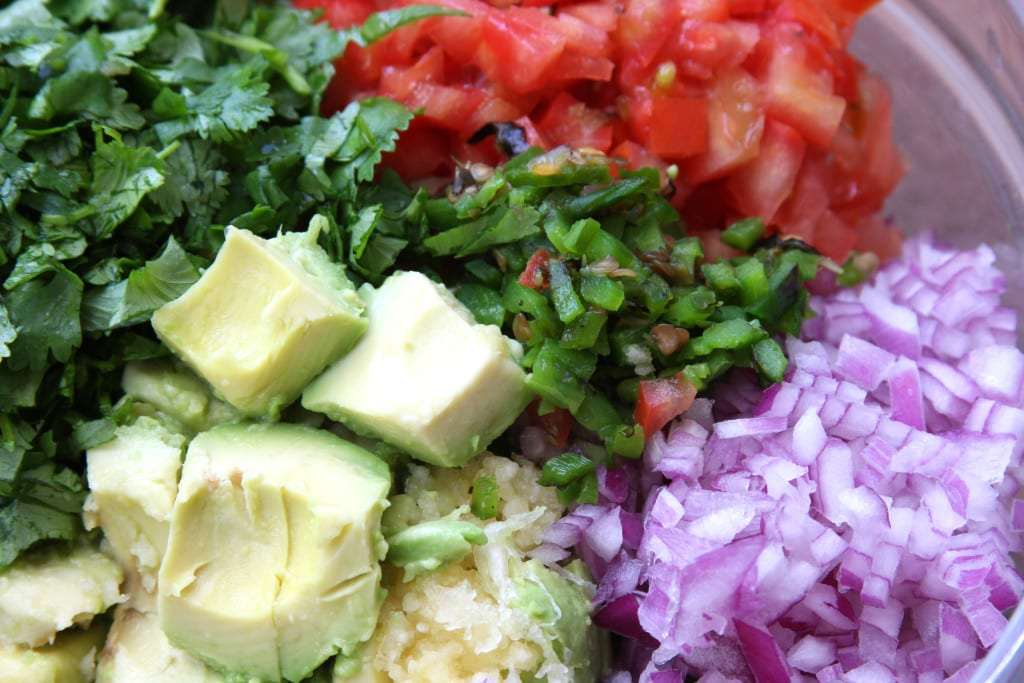 Chopped ingredients for Simple Healthy Guacamole.