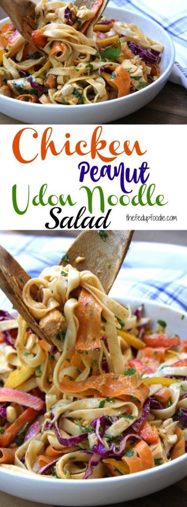 Chicken Peanut Udon Noodle Salad recipe has the smooth flavors of sesame oil and peanut butter spiced up with sriracha and lime. Add in baked chicken, cut veggies and crunchy peanuts for one of the best healthy comfort meals around. One of my favorites to pack for lunch! https://www.thefedupfoodie.com