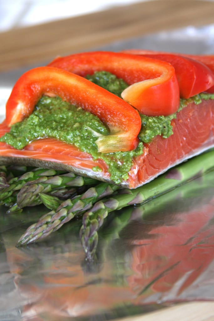 Salmon Pesto Veggie Pocket recipe- a healthy & flavorful Dinner for 2. Assembly takes minutes to do.