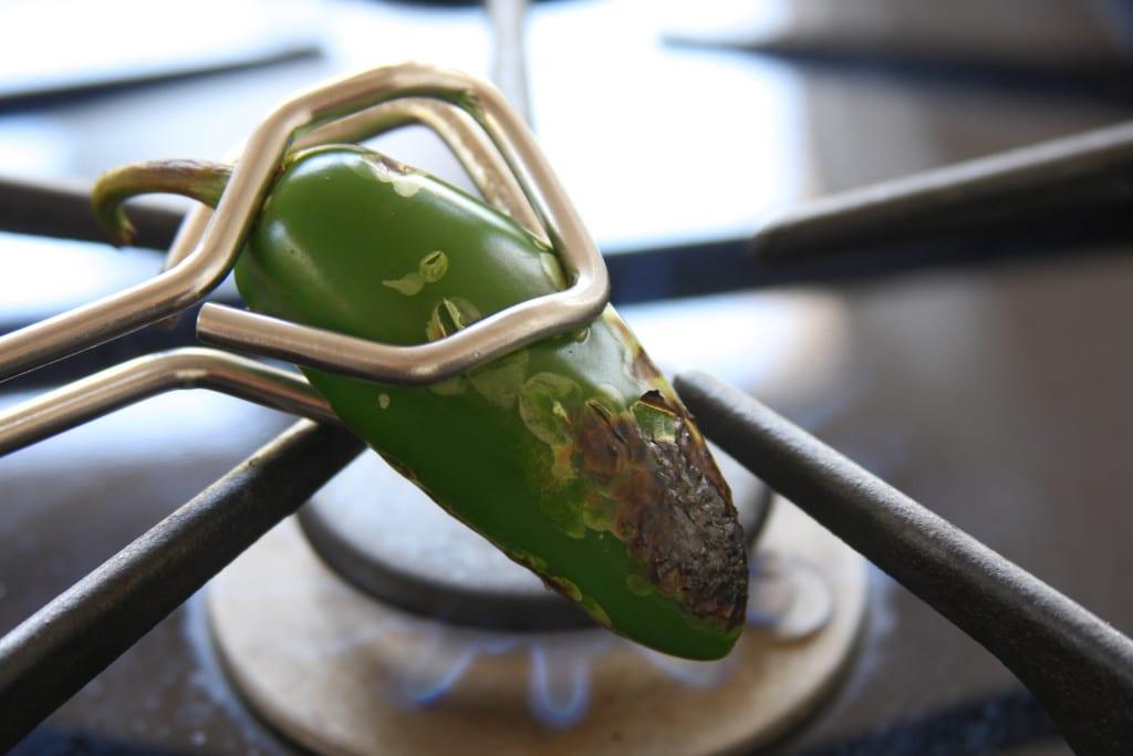 Roasting jalapeño for Simple Healthy Guacamole.