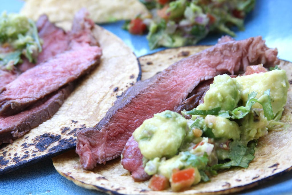Carne Asada tacos with Simple Healthy Guacamole.