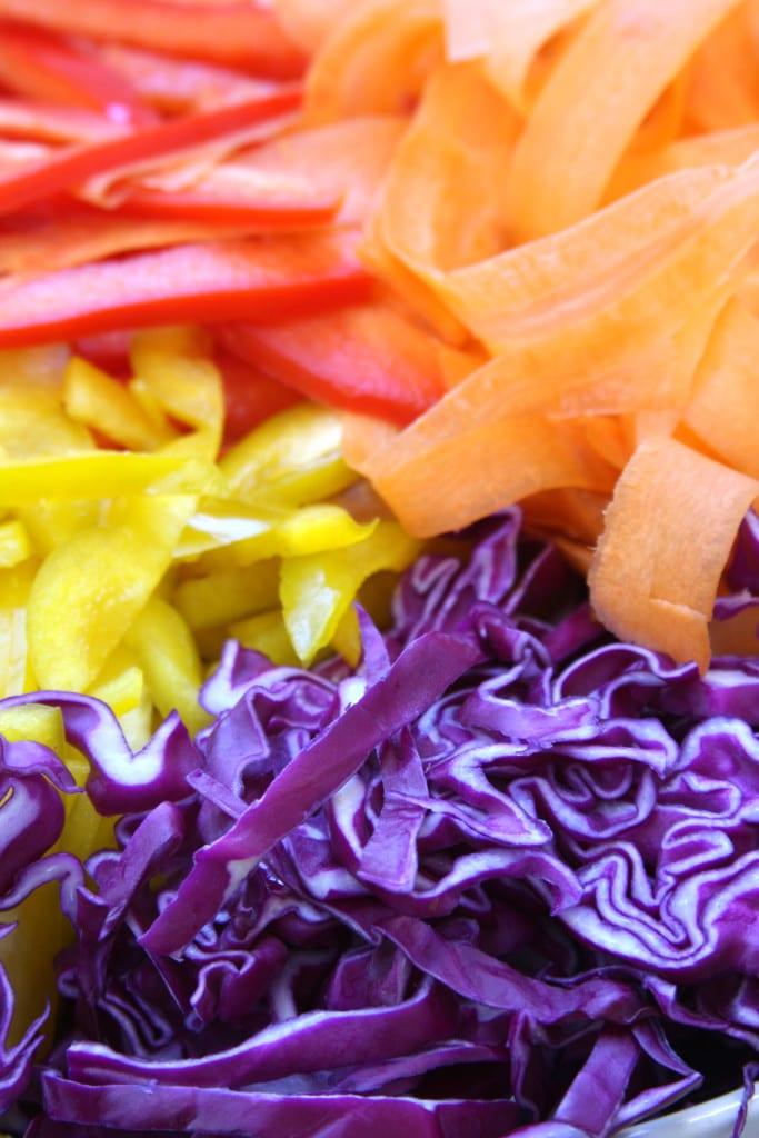Veggies for Chicken Peanut Udon Noodle Salad