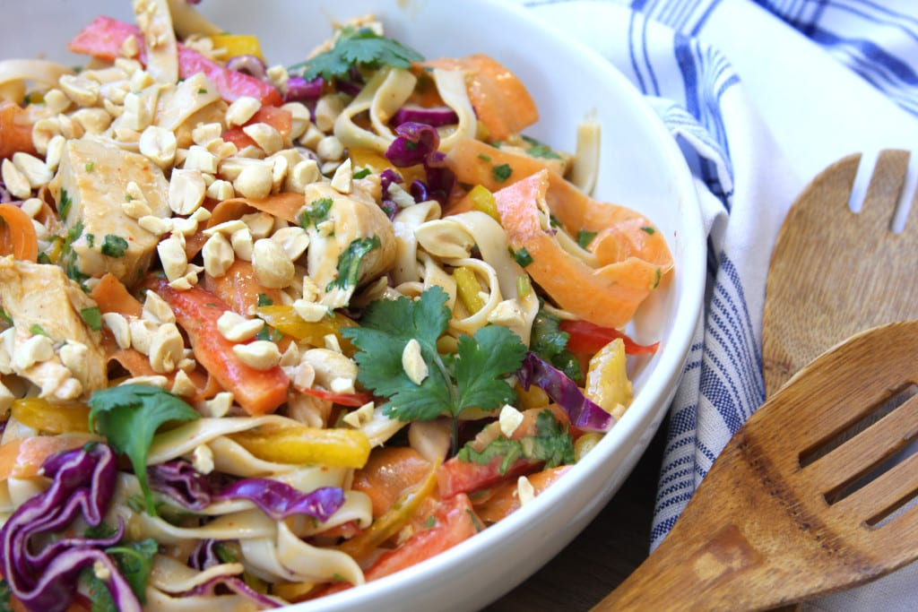 Chicken Peanut Udon Noodle Salad recipe is where cleaning eating and comfort food unite. Perfect for cold lunches during the week.