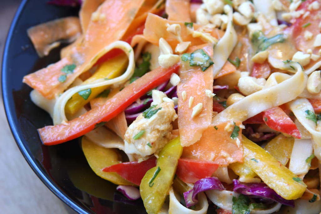 Chicken Peanut Udon Noodle Salad recipe has beautiful veggies and has incredible flavor.