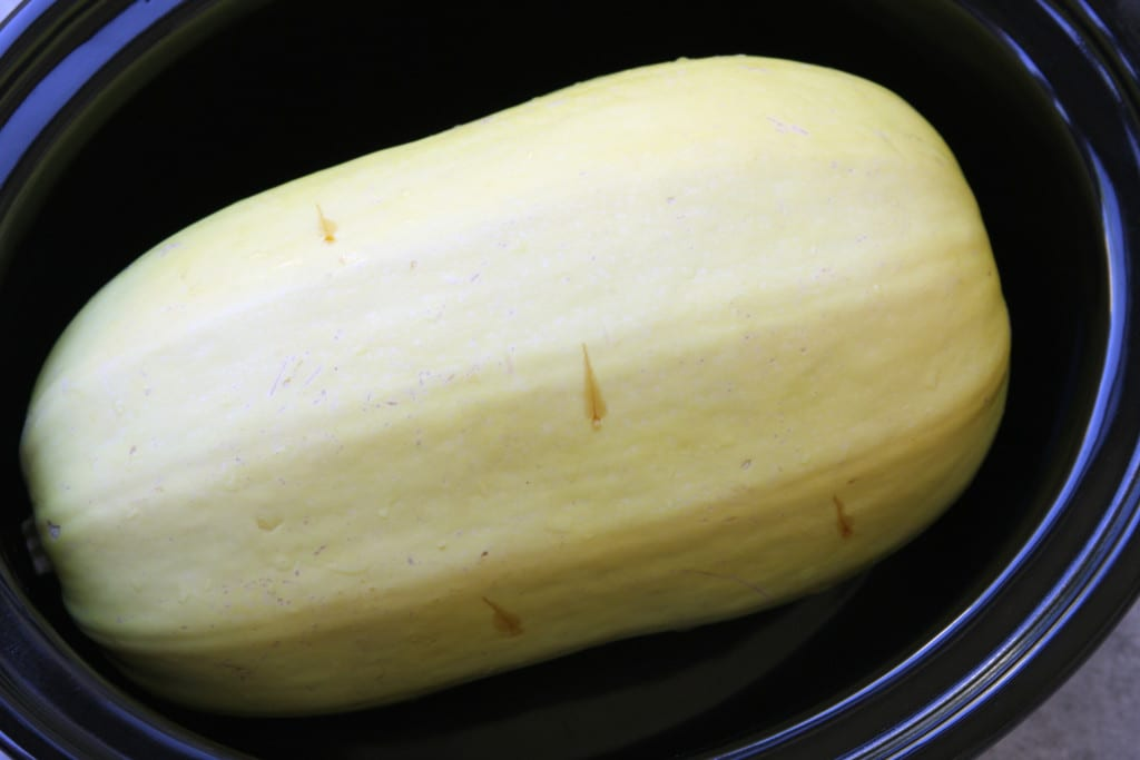 Spaghetti Squash ready to be cooked for Crockpot Spaghetti with Chimichurri Sauce.
