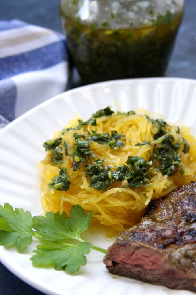 Crockpot Spaghetti Squash with Chimichurri Sauce recipe was so satisfying and flavorful. Perfect low-carb, gluten free side dish.