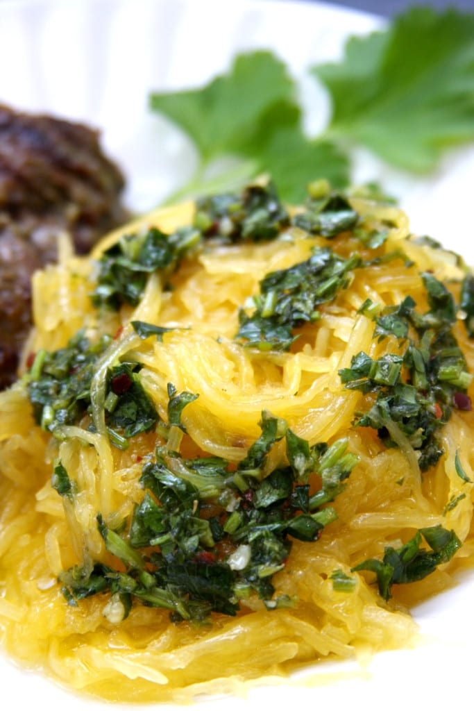 Crockpot Spaghetti Squash with Chimichurri Sauce recipe is bursting with flavor and is incredibly easy to make. Gluten free and perfect for the elimination diet.