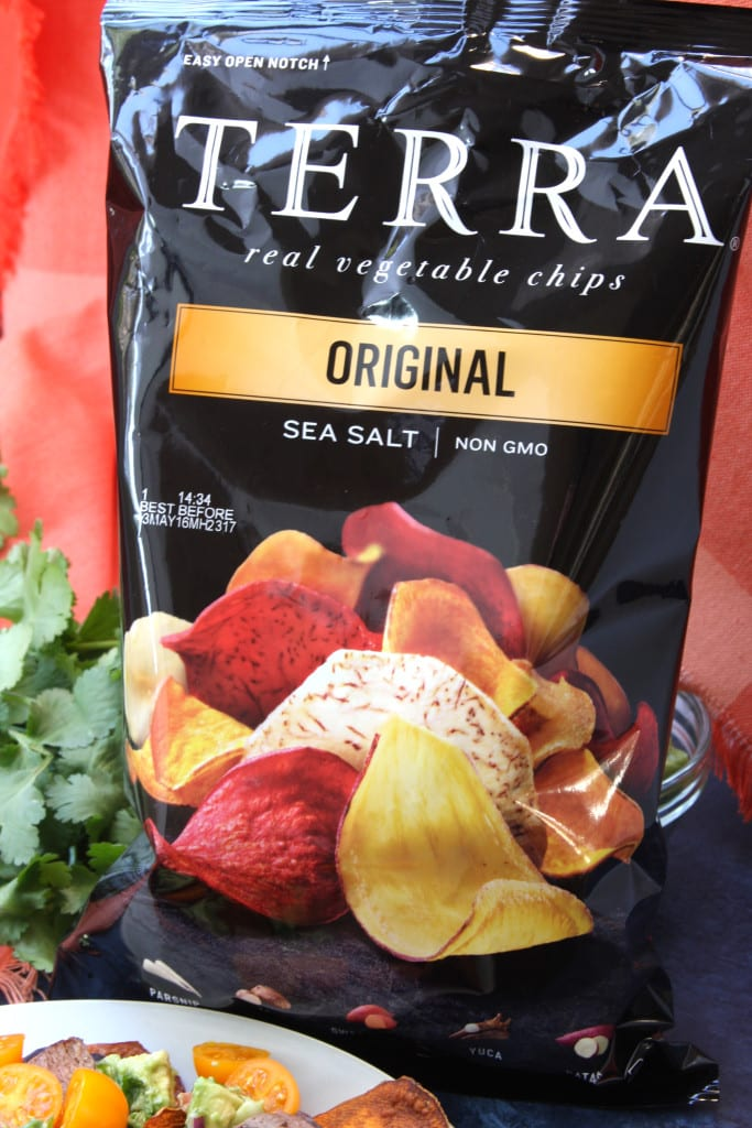 Terra root veggie chips are another option for Super Healthy Sweet Potato Nachos.