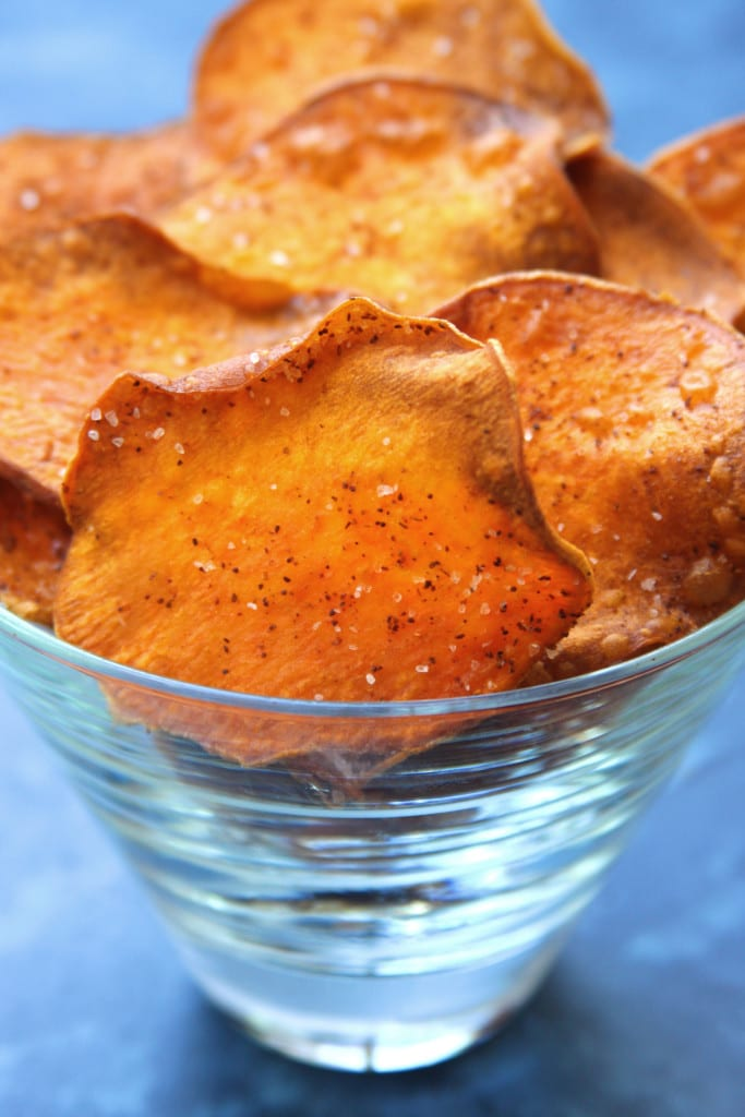 Homemade Sweet Potato Chips recipe have a light crispiness and are kissed with chili powder. Dinner for 2