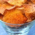 Homemade Sweet Potato Chips have a light crispiness and are kissed with chili powder.