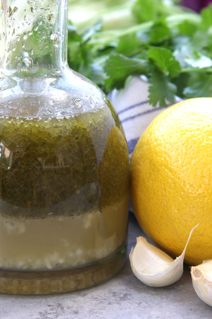 Simple Herbed Lemon Vinaigrette - so refreshing with flavors of lemon, dill and garlic. This is my favorite go to salad dressing.