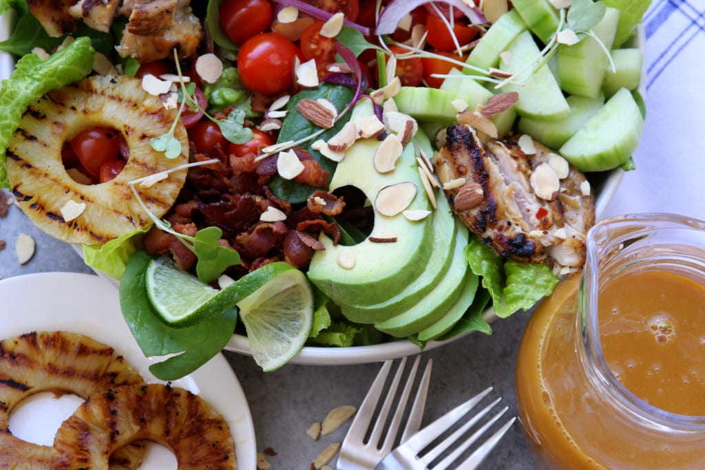 Grilled Pineapple Sesame Chicken Salad recipe- sweet, tangy, savory and crunchy all at once. Perfect for get togethers.