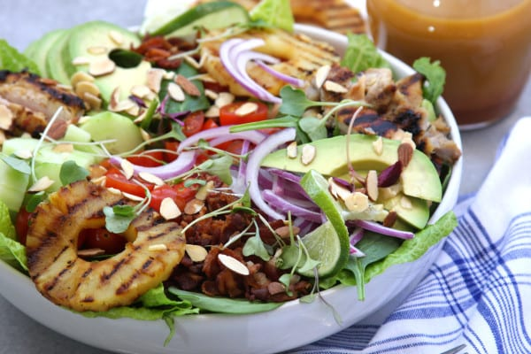 Grilled Pineapple Sesame Chicken Salad recipe is pretty enough for ...
